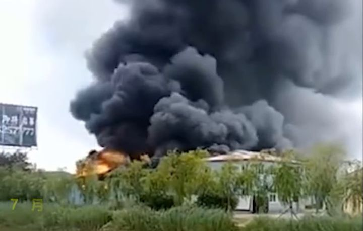 Blast rips through sewage plant Saturday in Fuxin, China. - Screencapture Via YouTube