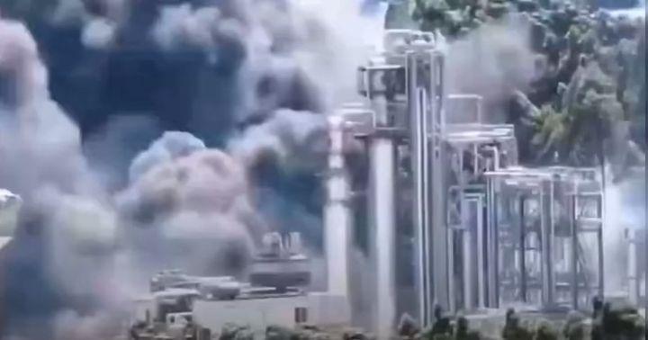 Fire crept through a bio-fuel tank farm in Longyan, China, Monday. - Screencapture Via YouTube