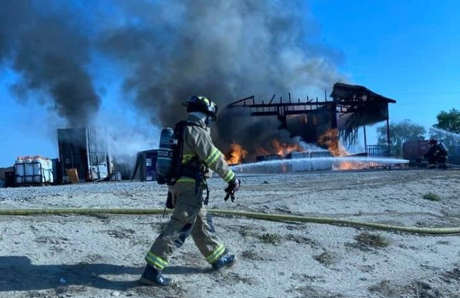 Flames gutted a hemp drying operation Tuesday near Mack, Colorado. - Photo Courtesy of Lower Valley Fire Protection District