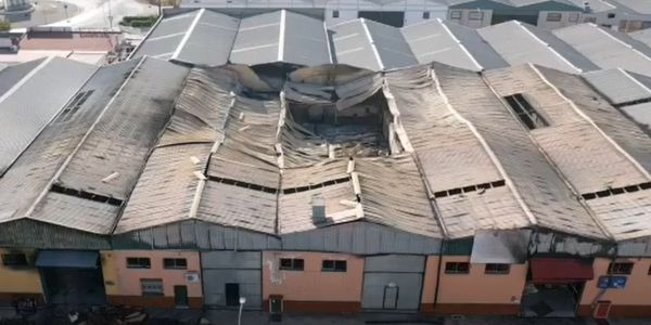 Seven warehouses were lost to fire Saturday in Marmolejo, Spain.