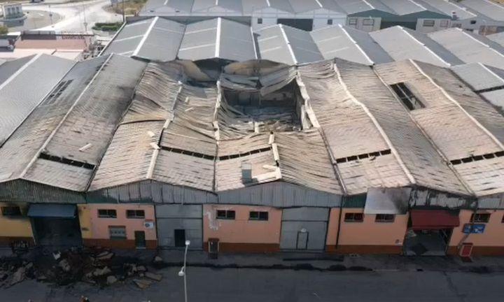 Seven warehouses were lost to fire Saturday in Marmolejo, Spain. - Screencapture Via Diario JAEN Reportajes