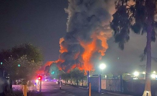 Massive fire dominates the skyline in southern Sydney Thursday night. - Photo Courtesy of Fire and Rescue NSW
