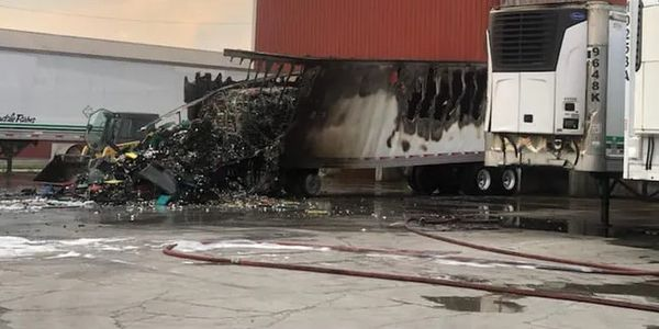 A loaded trailer caught fire at the loading dock of Nearby Eggs Monday.