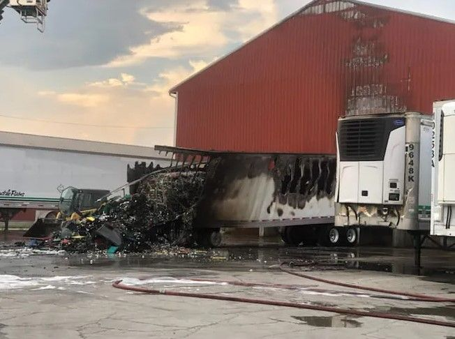 A loaded trailer caught fire at the loading dock of Nearby Eggs Monday. - Photo Courtesy of Jefferson Volunteer Fire Company