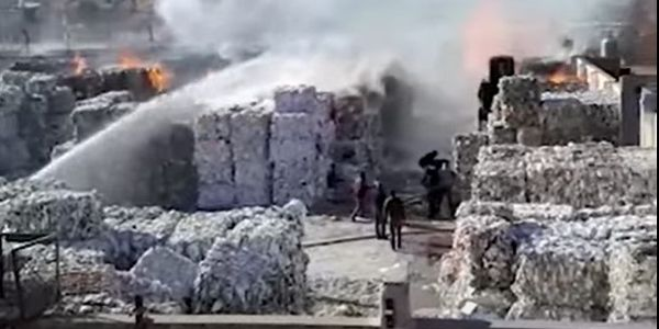 Flames consumed baled paper waiting to be recycled at a plant in Argentina.