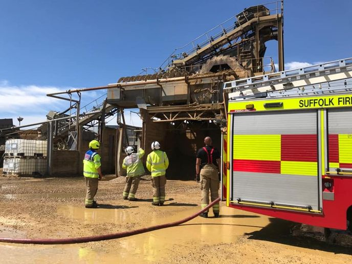 Firefighters respond to a gravel plant fire in Ipswich, England. - Photo courtesy of Suffolk Fire and Rescue Service