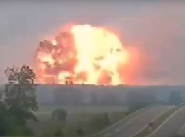 A massive fireball rises from a fireworks factory in northwest Turkey Friday morning.