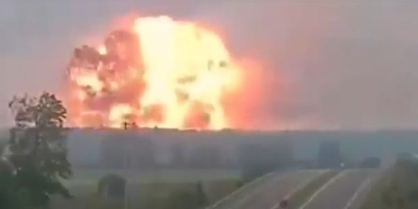 A massive fireball rises from a fireworks factory in northwest Turkey Thursday.