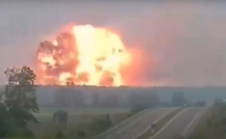 A massive fireball rises from a fireworks factory in northwest Turkey Friday morning. - Screencapture Via YouTube