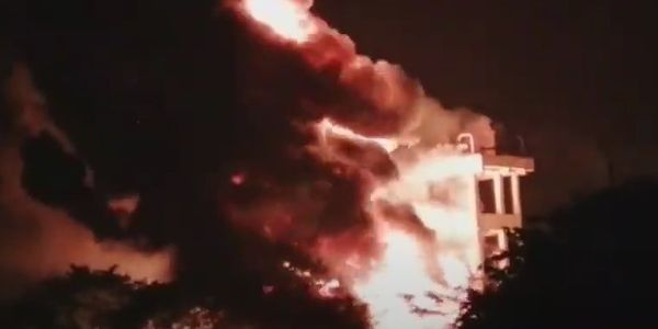 Fire followed an explosion at a pharmaceutical plant Monday in India.