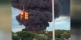 Overturned Tanker Truck Bursts in Flames in Michigan
