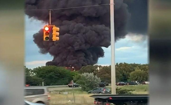 A tanker truck erupted in flames in Michigan Saturday night. - Screencapture Via WDIV