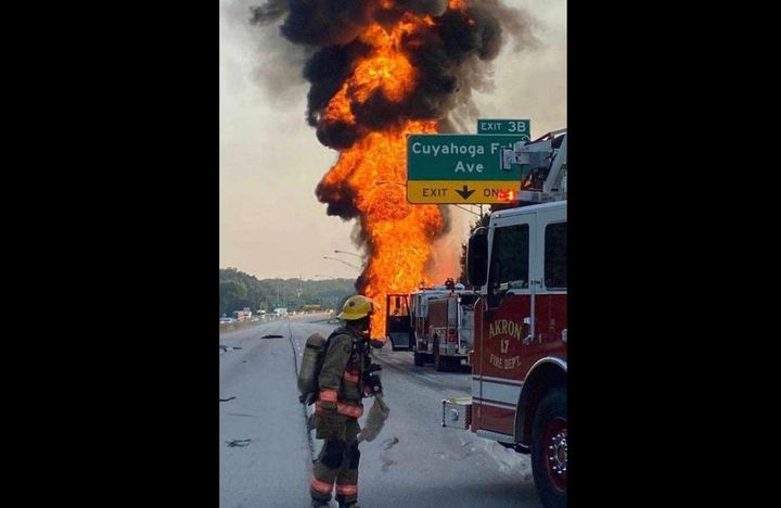 Traffic was halted in both directions when a tanker truck exploded in Akron, Ohio, Tuesday. - Photo courtesy of Akron Fire Department