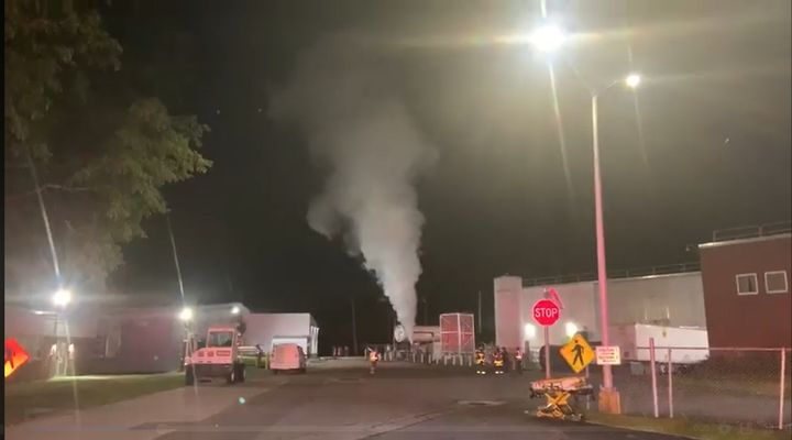 Carbon dioxide vents to the atmosphere after an explosion Tuesday in Massachusetts. - Photo Courtesy of Ashland Fire Department