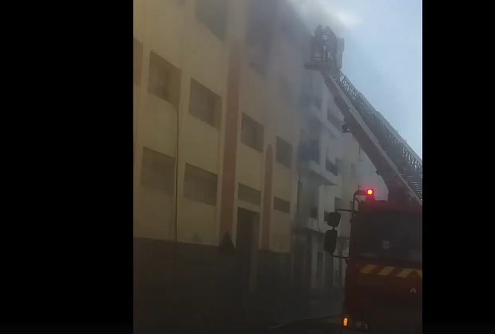Packaged inventory went up in flames at a candy factory in Morocco Monday. - Screencapture Via Facebook