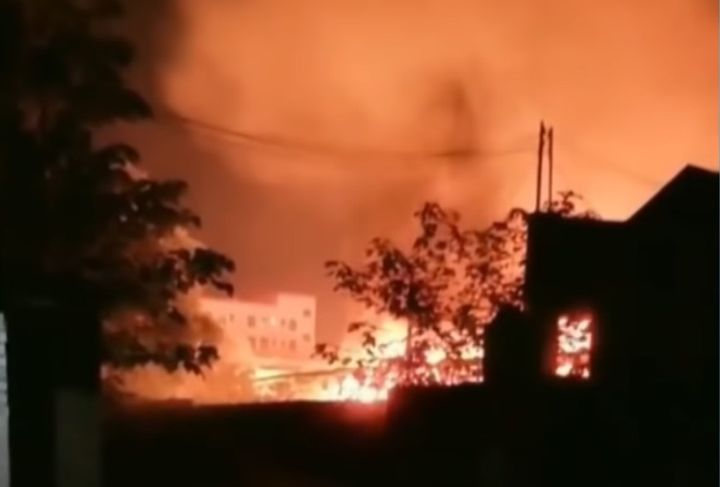 Flames at a hazardous waste storage facility turned the sky above Foshan City, China, Saturday night. - Screencapture Via Focus Newsletter