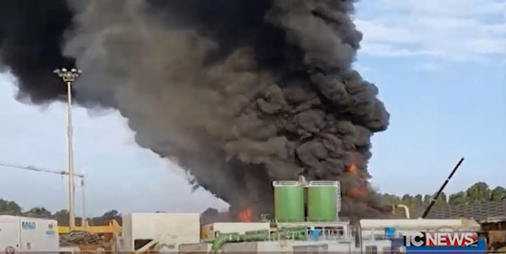 Steel mill fire reported in Italy Thursday. - Screencapture Via Telecolor News
