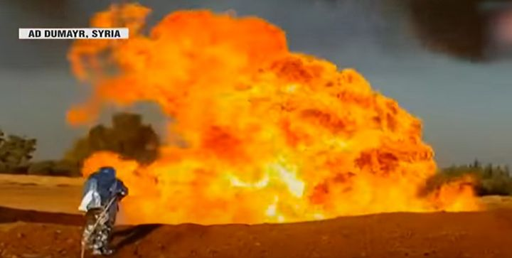 Firefighters battle a natural gas pipeline fire near Damascus throught to have been caused by a terrorist attack. - Screencapture Via WION News