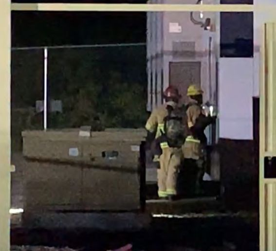 Firefighters moments before an explosion tore through a lithium-ion battery energy storage system. - Photo Courtesy ofUL Firefighter Safety Research Institute