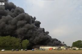 Plastic Parts Plant Burning in Southeast England