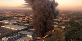 Firefighter Use Foam Against Texas Plastics Plant Fire