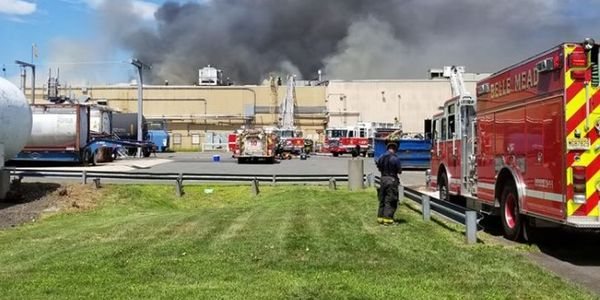 Smoke rises Tuesday from a manufacturing plant in New Jersey.