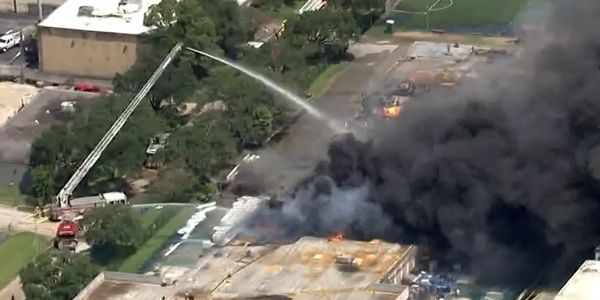 Aerial view of a warehouse fire in Houston Friday that also destroyed an HFD ladder truck.