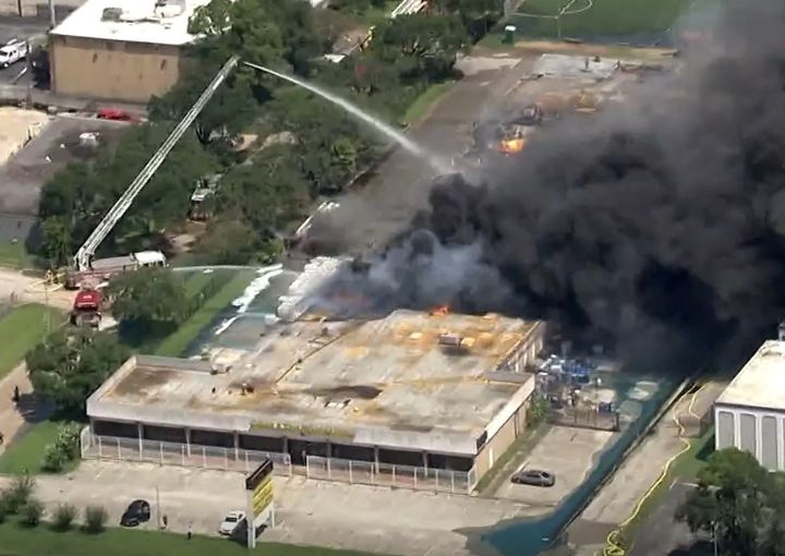 Aerial view of a warehouse fire in Houston Friday that also destroyed an HFD ladder truck. - Screencapture Via KHOU