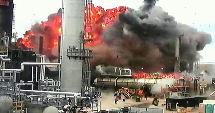 Surveillance video captures the explosion that triggered the April 2018 explosion at Husky Energy refinery in Superior, Wisconsin. - Photo Courtesy of Superior Fire Department