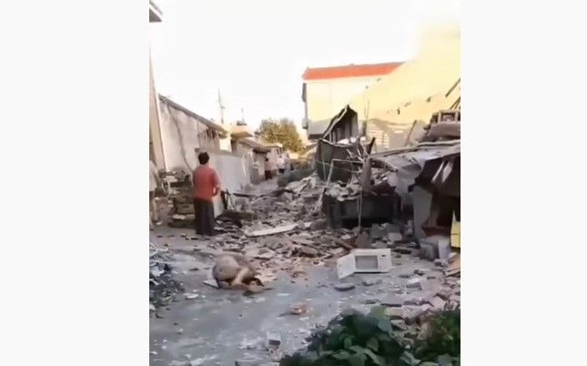 Aftermath of an explosion at an agricultural products storage site Saturday in China. - Screencapture Via YouTube