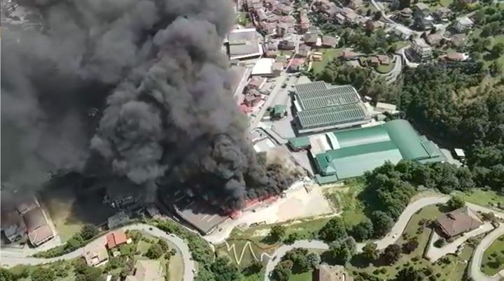 Aerial view of a textile factory burning in Italy Friday afternoon. - Photo Courtesy of Comune di Leffe
