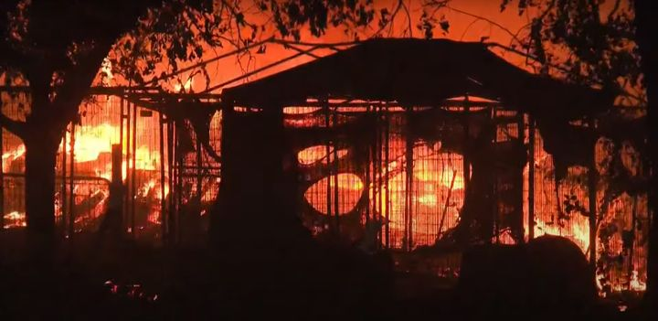 California wildfire have destroyed more than 100 buildings, including homes. - Screencapture Via  KXTV