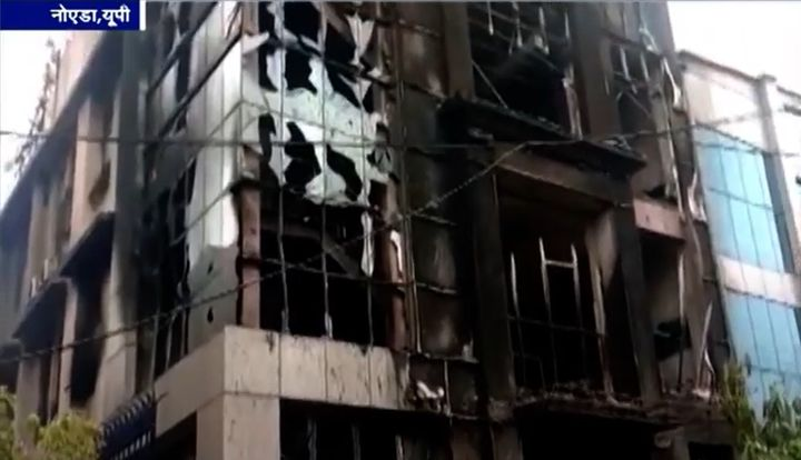 Pen factory in Noida, India, after being gutted by fire Monday. - Screencapture Via YouTube