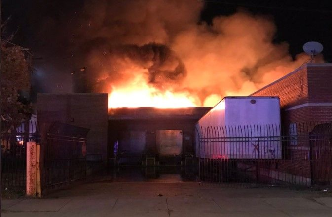 Flames consume a factory on Chicago's South Side Sunday morning. - Photo Courtesy of Chicago Fire Media