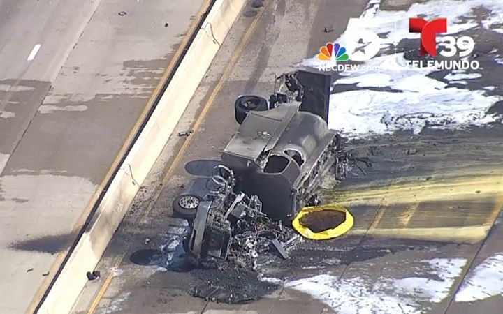 Wreckage of a fuel truck that burned in Richardson, Texas, Wednesday. - Screencapture Via KXAS