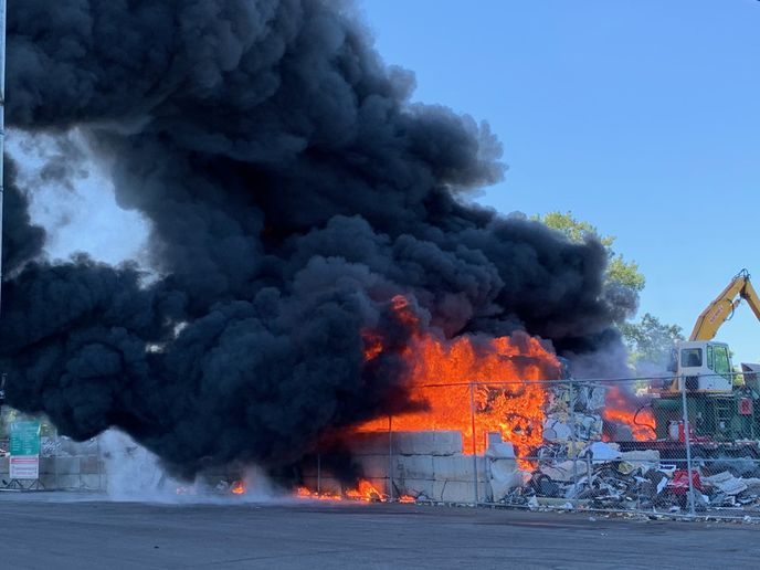 Fire broke out Tuesday in a salvage yard in St. Paul, Minnesota. - Photo Courtesy of St. Paul Fire Department