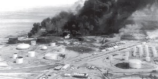 Aerial view of the flaming Diamond Shamrock refinery near Sunray, Texas, in July 1956.
