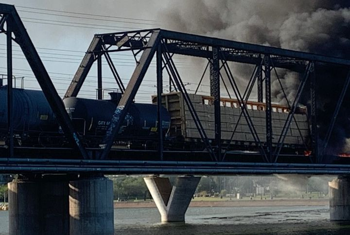 Fire breaks out after a train derailment Wedneday in Tempe, Arizona. - Photo courtesy of Tempe Police