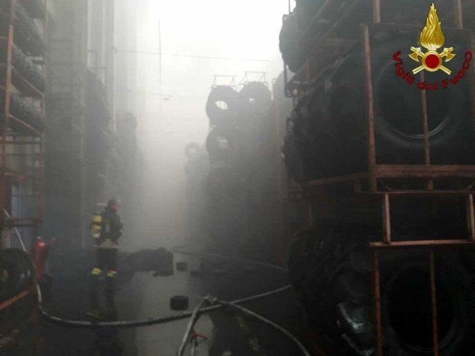 Smoke fills the storage area of a tire factory near Rome Thursday. - Photo Courtesy of Vigili Del Fuoco