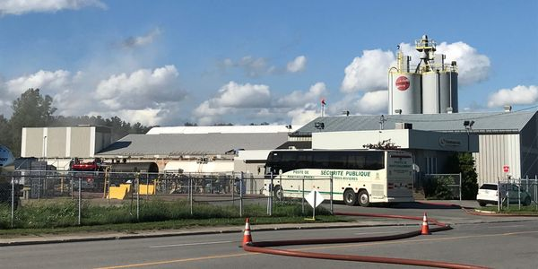 Fire broke out at a product storage and distribution center in southern Quebec Wednesday afternoon.