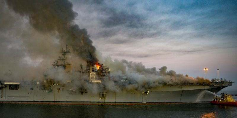 Fire aboard USSBonhomme Richard at Naval Base San Diego on July 12.