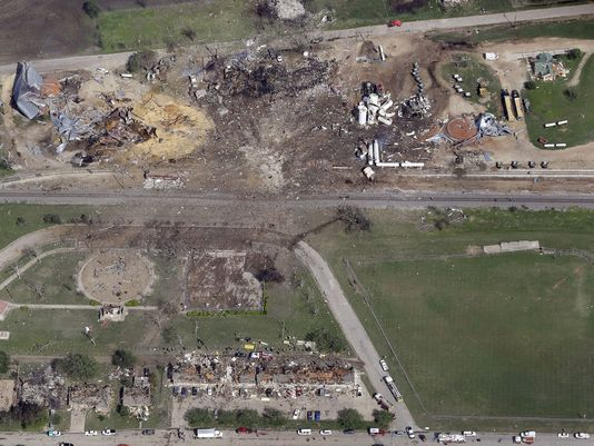 A massive explosion at a fertilizer storage facility in West, Texas, killed 12 volunteer firefighters and caused hundreds of injuries. - Photo Courtesy of Chemical Safety Board