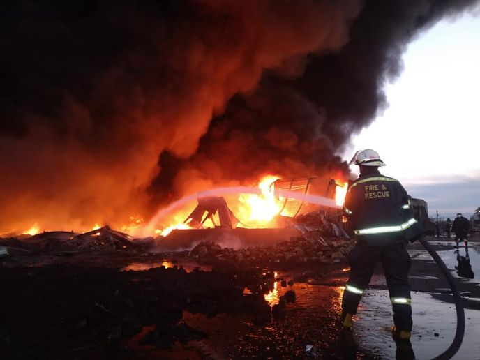 Flames gutted a plastics plant in South Africa Sunday. - Photo courtesy of KJwaZulu-Natal Private Ambulance Service