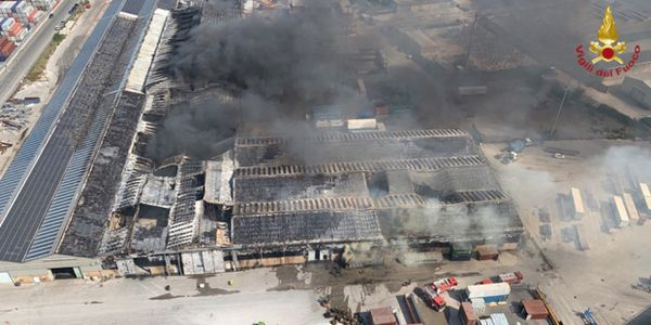 A fire in Ancona, Italy, raced through nearly 40,000 meters of warehouse space Wednesday morning.