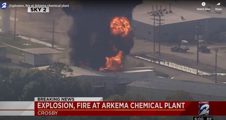 Hurricane Harvey-related flooding causes fire August 2017 at Arkema, Inc. in Crosby, Texas. - Screencapture Via KPRC