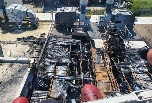 Aftermath of the July 3 fire at Egide USA in Cambridge, Maryland. - Screencapture Via Rescue Fire Company