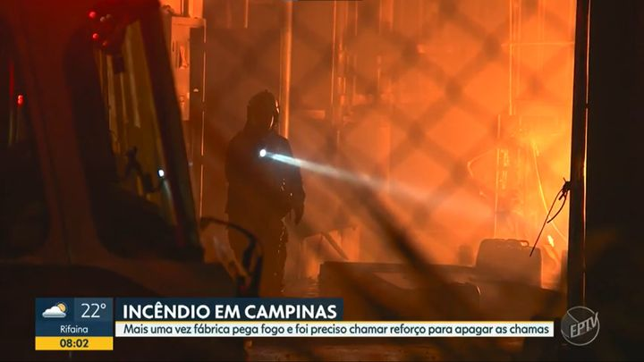 Fire gutted a metal treatment plant in Brazil Tuesday. - Screencapture Via EPTV