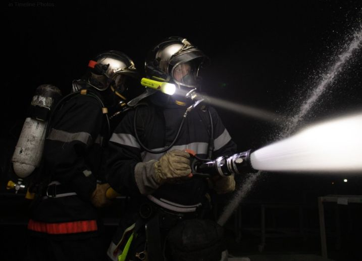 Firefighters attack flames at a rubber seal factory Wednesday in France. - Photo Courtesy of SDIS 60