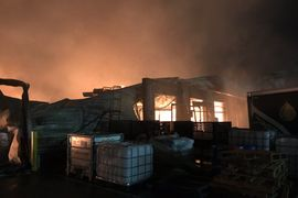 Fire Destroys Food Warehouse in Southwestern England