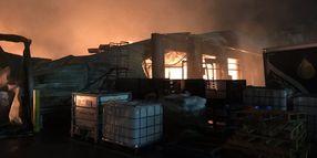 Fire Destroys Food Warehouse in Southwestern England